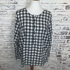 ANN TAYLOR Loft Shirt Buffalo Plaid Popover Top